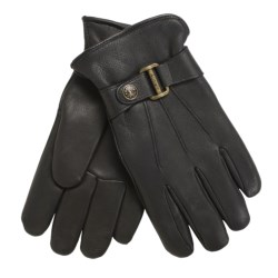 Auclair Auburn Deerskin Buckle Gloves - Insulated, Fleece Lining (For Men) in Black