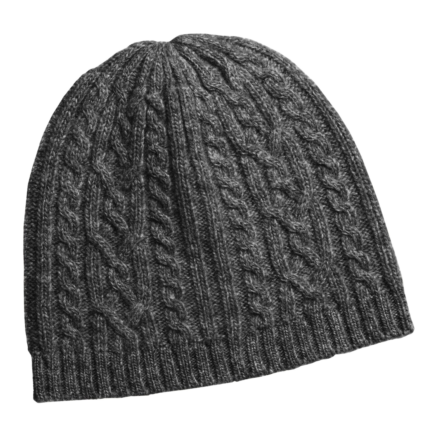 Knit Hat : Auclair Cable-Knit Beanie Hat - Merino Wool (For Women) in Charcoal