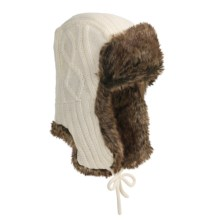 Auclair Cable-Knit Ear Flap Hat - Faux Fur (For Men and Women) in White - Closeouts