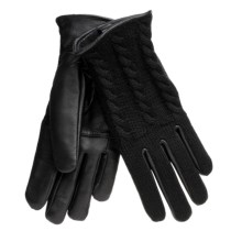 Auclair Cable-Knit Gloves - Leather, Lined (For Women) in Black - Closeouts