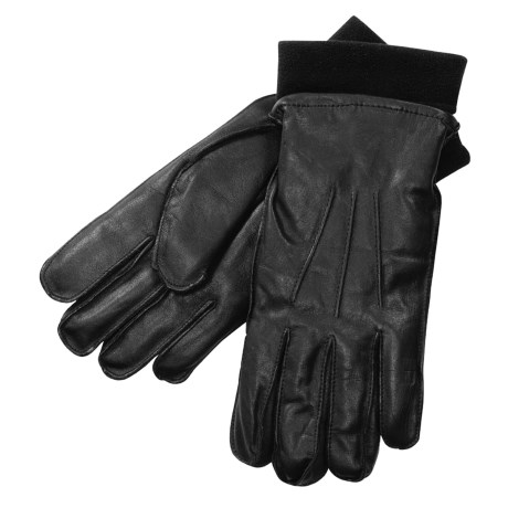 Auclair Casual Leather Gloves with Fleece Liner (For Men) in Black