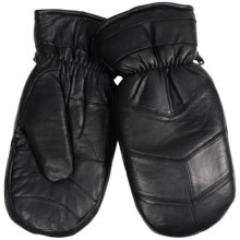 Auclair Chevron Leather Mittens - Built-In Gloves, Fleece Lined (For Men) in Black - Closeouts