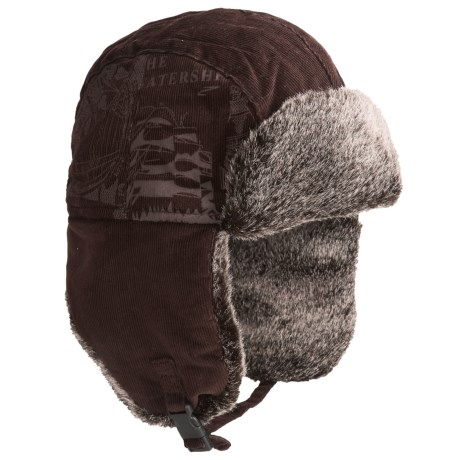 Auclair Corduroy Cargo Aviator Hat (For Men and Women) in Dark Brown Graphic