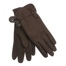 Auclair Deer Suede Gloves - Polyfleece Lining (For Women) in Black