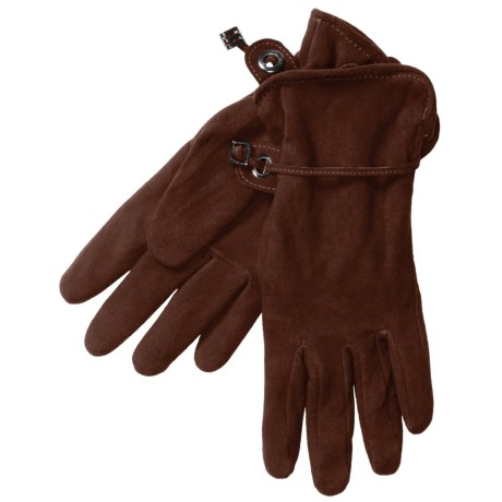 Auclair Deer Suede Gloves - Polyfleece Lining (For Women) in Dark Brown