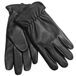 Auclair Deerskin Driver Gloves - Fleece Lining (For Men) in Black