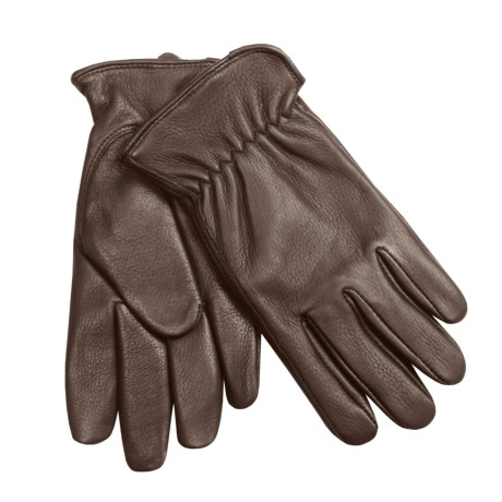 Auclair Deerskin Driver Gloves - Fleece Lining (For Men) in Dark Brown