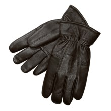 Auclair Deerskin Leather Gloves - Fleece-Lined (For Men) in Black - Closeouts