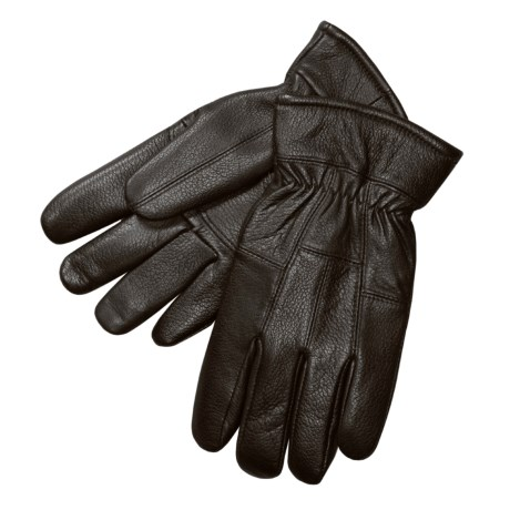 Auclair Deerskin Leather Gloves - Fleece-Lined (For Men) in Black