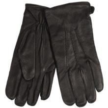 Auclair Embossed Leather Gloves - Fleece Lined (For Men) in Black - Closeouts