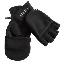 Auclair Fleece Fishing Gloves with Flip-Top Glomitts (For Men and Women) in Black - Closeouts