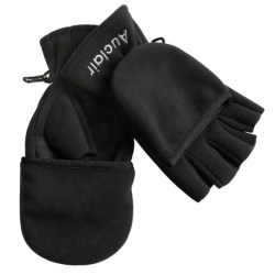 Auclair Fleece Fishing Gloves with Flip-Top Glomitts (For Men and Women) in Black