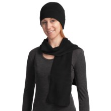Auclair Fleece Scarf and Beanie Hat Set (For Women) in Black - Closeouts