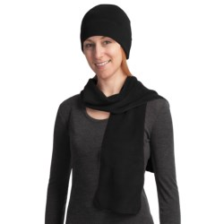 Auclair Fleece Scarf and Beanie Hat Set (For Women) in Black