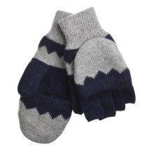 Auclair Flip-Top Fingerless Gloves - Wool (For Men) in Grey/Navy - Closeouts
