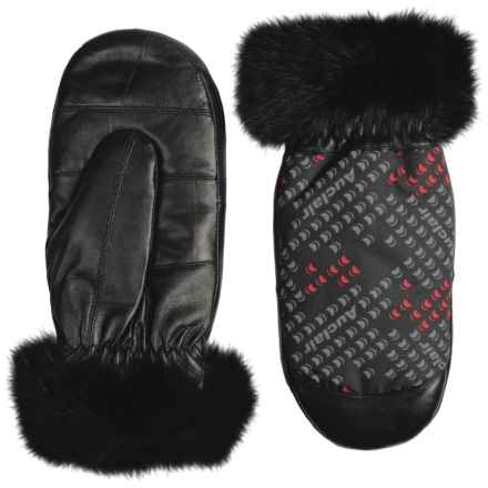 Auclair Furry Mittens - Insulated, Faux Fur (For Women) in Black/Grey/Red - Closeouts