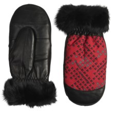 Auclair Furry Mittens - Insulated, Faux Fur (For Women) in Red/Black/Grey - Closeouts