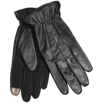 Auclair Glace Gathered-Cuff Leather Gloves - Touchscreen Compatible (For Women) in Black - Closeouts