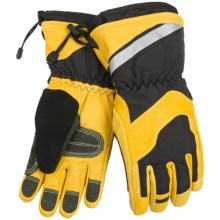 Auclair Hercules Cowhide Work Gloves - Waterproof, Insulated (For Men) in Black/Yellow/Grey - Closeouts