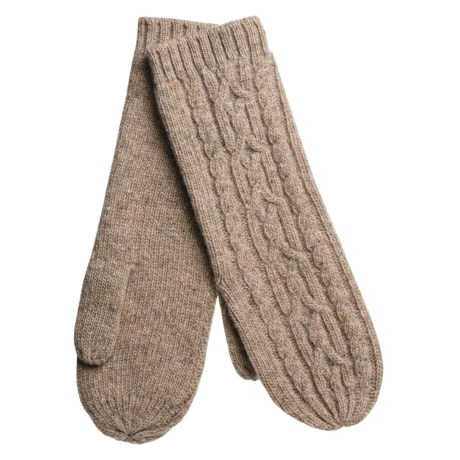 Auclair Long Cable-Knit Mittens - Merino Wool (For Women) in Fawn