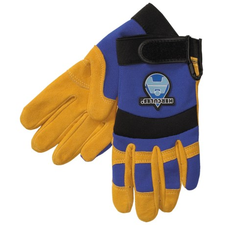 Auclair Mechanic-Style Cowhide Gloves - Spandex Back, Curved Fingers and Thumb (For Men) in Blue Back/ Gold Palm