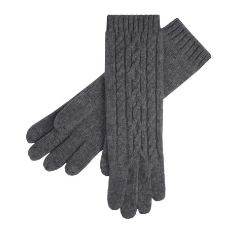 Auclair Merino Wool Gloves - Long, Cable Knit (For Women) in Charcoal