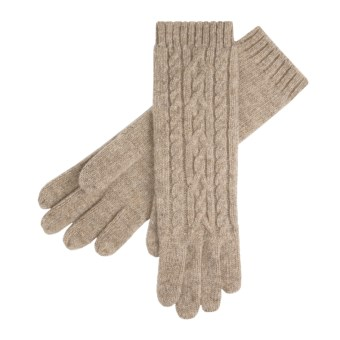 Auclair Merino Wool Gloves - Long, Cable Knit (For Women) in Fawn