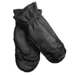Auclair Moccasin Finger Sheepskin Gloves-Mittens - Polyfleece Lining (For Women) in Black