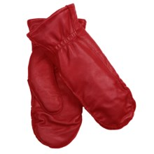 Auclair Moccasin Finger Sheepskin Gloves-Mittens - Polyfleece Lining (For Women) in Cranberry - Closeouts