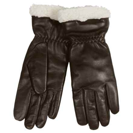 Auclair Paris Leather Gloves - Insulated, Fleece Lined (For Women) in Dark Brown - Closeouts