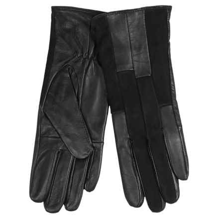 Auclair Patchy Leather Gloves - Fleece Lined (For Women) in Black - Closeouts