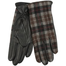 Auclair Plaid Leather Gloves (For Women) in Black/Grey - Closeouts