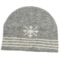 Auclair Ragg Skipole Beanie Hat - Lambswool, Fleece Lining (For Men and Women) in Grey/White