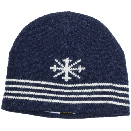 Auclair Ragg Skipole Beanie Hat - Lambswool, Fleece Lining (For Men and Women) in Navy/White