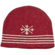Auclair Ragg Skipole Beanie Hat - Lambswool, Fleece Lining (For Men and Women) in Red/White - Closeouts