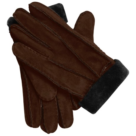 Auclair Shearling Gloves (For Women) in Dark Brown Print