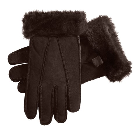 Auclair Shearling Gloves (For Women) in Dark Brown/Dark Brown
