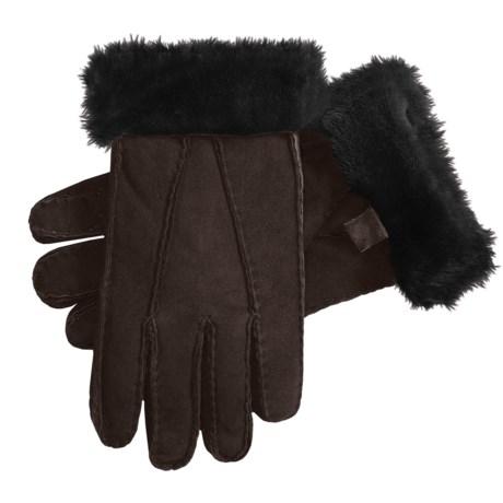 Auclair Shearling Gloves (For Women) in Dark Brown Print