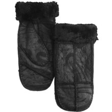 Auclair Sheepskin Mittens (For Women) in Black/Shiny Graphic Print - Closeouts