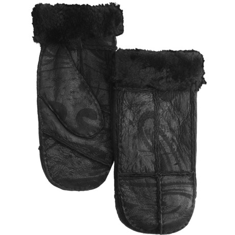 Auclair Sheepskin Mittens (For Women) in Black/Shiny Graphic Print