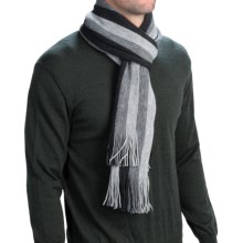 Auclair Stripe Scarf (For Men and Women) in Grey / Black - Closeouts