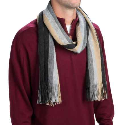 Auclair Stripe Scarf (For Men and Women) in Grey/Tan - Closeouts