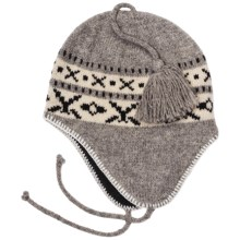Auclair Striped Flapper Hat - Ear Flaps, Peruvian Wool (For Men and Women) in 8045 Grey/White - Closeouts