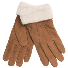 Auclair Suede Gloves - Faux-Shearling Cuffs (For Women) in Saddle - Closeouts