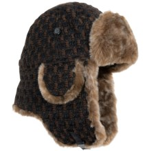 Auclair Textured Aviator Hat - Faux-Fur Trim (For Men and Women) in Brown/Black - Closeouts
