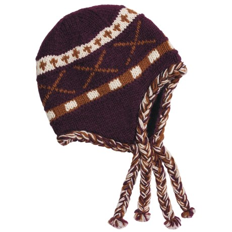 Auclair Wool Tie Hat - Ear Flaps, Fleece Lining (For Women) in Claret