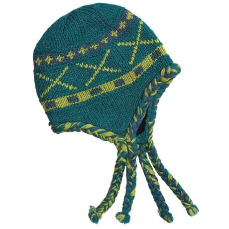 Auclair Wool Tie Hat - Ear Flaps, Fleece Lining (For Women) in Teal Blue