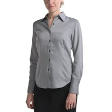 Audrey Talbott Aly Classic Cotton Shirt - Tie Fabric Trim, Long Sleeve (For Women) in Black/White - Closeouts