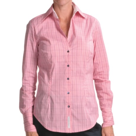 Audrey Talbott Angie Plaid Shirt - Open Collar, Long Sleeve (For Women) in Guava