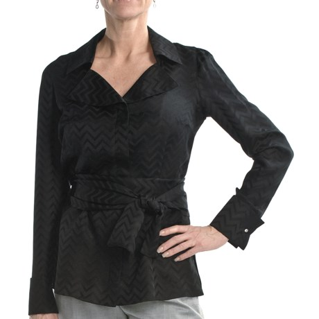 Audrey Talbott Belted Silk Tunic Shirt - Maude Jacquard, Long Sleeve (For Women) in Black